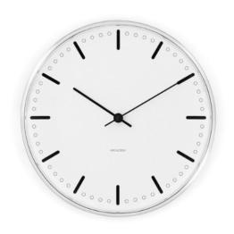 Rosendahl Copenhagen Arne Jacobsen City Hall Wanduhr, Uhr, Analog, Japanisches Uhrwerk, Gewölbtes Mineralglas, Aluminiumgehäuse, Weiß und Schwarz, Ø 21 cm, RDAJ043631 - 1