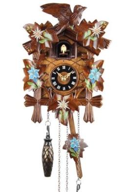 Schwarzwälder Kuckucksuhr aus Echtholz mit batteriebetriebenem Quartzwerk und Kuckuckruf - Angebot von Uhren-Park Eble - Eble -Bemalt 22cm- 8599001 - 1