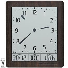 AMS 5893 Wanduhr Funk Anzeige von Zeit, Datum, Wochentag, Temperatur - 1