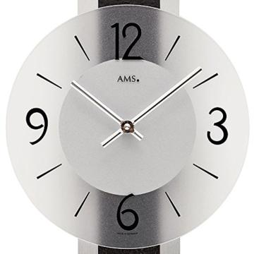 AMS Designer Wanduhr Stilvolle Wand Quarz Uhr Fürs Wohnzimmer Glas Schiefer  Neu   2