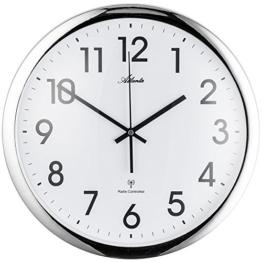 FUNK-UHR WAND-UHR Atlanta Wanduhr silberfarben Silber Runde Hängeuhr Küche Büro Wohn Esszimmer- Uhr - 1