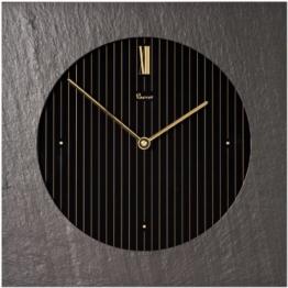 Vaerst 2765 Quarz-Wanduhr aus Naturschiefer und Mineralglas, schwarz, gold - 1