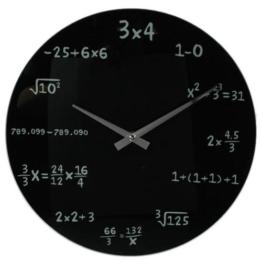 """Wanduhr """"Mathematic"""" in Schwarz - mit mathematischen Formeln statt Zahlen -"""
