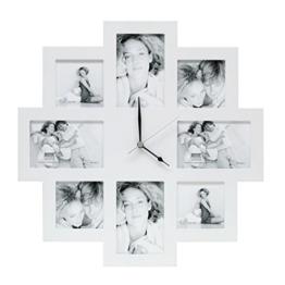 Deknudt Frames S65SM1 Fun & Deco 0x0 Bilderwandrahmen mit Uhr, Weiss, 4x(10x10)+4x(10x15) Holz Fun & Deco -
