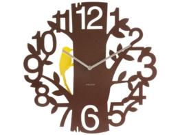 Karlsson KA5393BR Wanduhr Woodpecker Kunststoff, Plastic, braun, 4 x 42 x 42 cm -