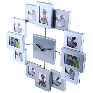 SOLEDI Bilderrahmen Wanduhr für Erinnerung von der schönen Zeit mit Ihren Familien Freunden Geliebten silbern -