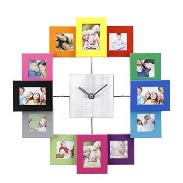 VonHaus Family Time Fotorahmen Bilderrahmenuhr Uhr Bunt Für 12 Fotos -