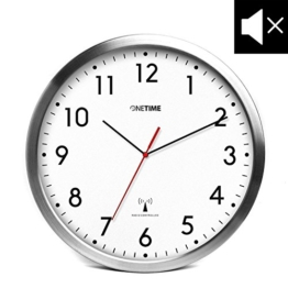 ONETIME MNU 3300 Weiße Funkwanduhr aus Aluminium mit lautlosem Sweep Uhrwerk 12 Zoll (Ø) 30,5 cm -