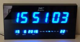 LED - Wanduhr groß blau XL mit Datum & Temperaturanzeige - LED-Uhr -