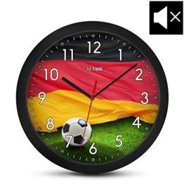 ONETIME Kinderwanduhr (Ø) 30,5 cm Kinder Wanduhr mit lautlosem Uhrenwerk und Deutschland Fußball Design -