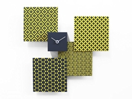 Pattern & Partner Designer-Wanduhr in grau/ gelb von Progetti. Handarbeit aus Holz. -