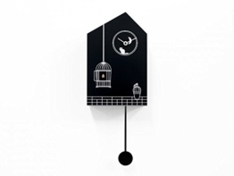 Progetti Wanduhr Moontime. Schwarz-weiße Kuckucksruhr mit Kuckucksruf, Lichtsensor, Quarzwerk -