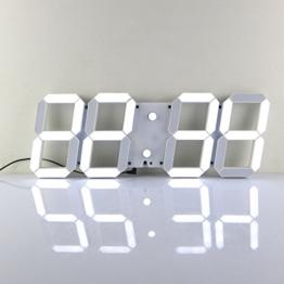 Redlution Große LED Uhr Wanduhr Fernbedienung Jumbo großen Zahlen 3D Entwurf Digitale Wecker mit Thermometer, Kalender, Snooze, Alarm, Countdown, Stunden / Minuten (Weiße) -