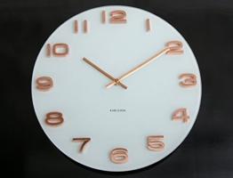 Wanduhr Glas Karlsson Vintage Uhr weiß kupfer rose rosegold lautloses Uhrwerk Bürouhr Küchenuhr -