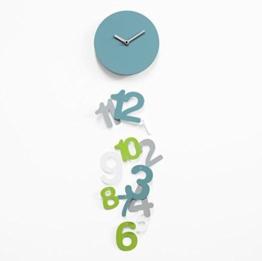 """Wanduhr """"Line"""" in jungem und unbeschwerte Zahlen-Design von Progetti - hellblau mit weiß und grün -"""