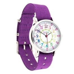 EasyRead Time Teacher Kinderuhr, 12- & 24- Stunden Uhrzeit, Regenbogenfarben, Violettes Armband -