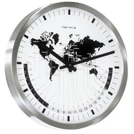 *Hermle* Quarzuhr - Wanduhr - Edelstahl mit gewölbtem Frontmineralglas - Weltzeit-Anzeige -