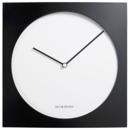 Jacob Jensen - Wanduhr, Uhr - Farbe: Schwarz/Weiß - Aluminium - 35 x 35 cm - zeitloses dänisches Design -