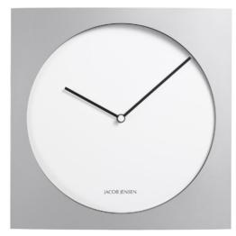 Jacob Jensen - Wanduhr, Uhr - Farbe: Silber/Weiß - Aluminium - 35 x 35 cm - zeitloses dänisches Design -