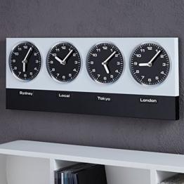 """MODERNE WANDUHR """"GLOBAL"""" mit 4 Uhrwerken und Magneten silber schwarz von Xtradefactory -"""