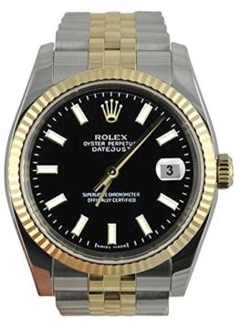 Perpetual Rolex schwarzen Stock Vorwahlknopfmattuhr Jubiläumsarmband SS & Gold -