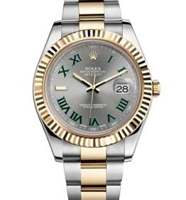 Rolex Datejust setzt II 2Stahl & Gelb Gold Watch grau und grün Zifferblatt 116333ungetragen -