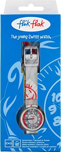 Swatch Armbanduhr JOLLY Cosmic Time, flik flak - Grau/Rot - Analog - Textilband -