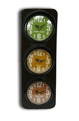 Wanduhr Uhr aus Metall im Ampeldesign 3 Zeitzonen Weltzeituhr New York Berlin Tokyo Shabby Chic Nostalgie Retro Look (dunkelbraun) -