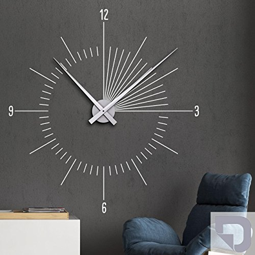 designscape wandtattoo uhr moderne zeit innovative wanduhr 93 x 100 cm b x h silber inkl. Black Bedroom Furniture Sets. Home Design Ideas