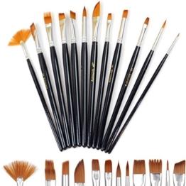 Doutop Pinselset Künstler Malen Pinsel Set Aquarell Acryl Flachpinsel Ölmalpinsel für Malerei Ölmalerei Ölfarben Bürste 12stk -