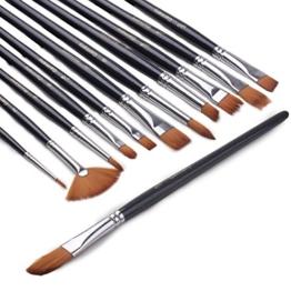 Pinselset Ölmalpinsel - ZWOOS 12 Stk Nylonhaar Pinselset Ölmalpinsel Künstler Aquarell Acryl Ölmalerei Flachpinsel ,Schwarz -