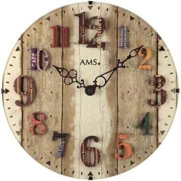 AMS 9423 Wanduhr Quarz , gewölbtes Mineralglas , aufgelegte Zahlen - 1
