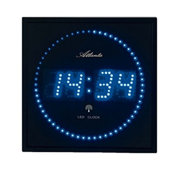 Atlanta 4312 Wanduhr Digital, 28 x 28 cm LED blau funk -