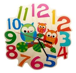 Hess Holzspielzeug 30001 Kinderwanduhr Eulen aus Holz, Durchmesser 21 cm - 1