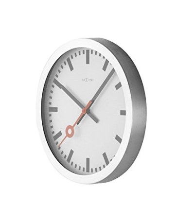 Nextime Station Wanduhr, Bahnhofsuhr ohne Ziffern, Uhr mit schleichendem Zeiger, Aluminium, Ø 35 cm, 3999 - 11