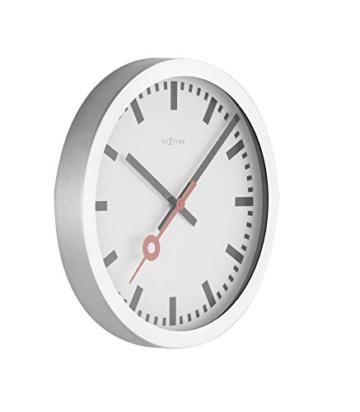 Nextime Station Wanduhr, Bahnhofsuhr ohne Ziffern, Uhr mit schleichendem Zeiger, Aluminium, Ø 35 cm, 3999 - 3
