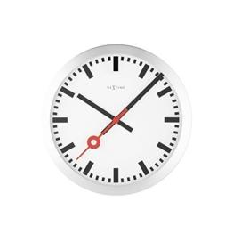 Nextime Station Wanduhr, Bahnhofsuhr ohne Ziffern, Uhr mit schleichendem Zeiger, Aluminium, Ø 35 cm, 3999 - 1