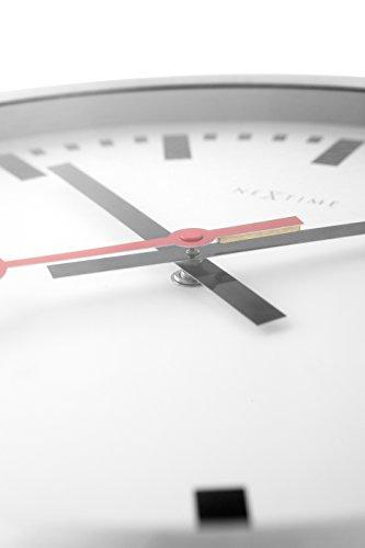 Nextime Station Wanduhr, Bahnhofsuhr ohne Ziffern, Uhr mit schleichendem Zeiger, Aluminium, Ø 35 cm, 3999 - 4