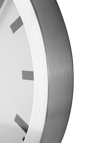 Nextime Station Wanduhr, Bahnhofsuhr ohne Ziffern, Uhr mit schleichendem Zeiger, Aluminium, Ø 35 cm, 3999 - 7
