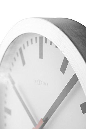 Nextime Station Wanduhr, Bahnhofsuhr ohne Ziffern, Uhr mit schleichendem Zeiger, Aluminium, Ø 35 cm, 3999 - 9