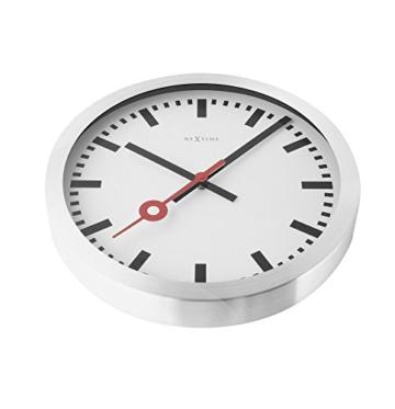 Nextime Station Wanduhr, Bahnhofsuhr ohne Ziffern, Uhr mit schleichendem Zeiger, Aluminium, Ø 35 cm, 3999 - 10