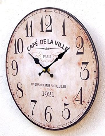 Lilienburg Uhr Wanduhr Küchenuhr braun antik Wand Küche Quarzuhr Landhausstil klassisch Deko Vintage M - 2