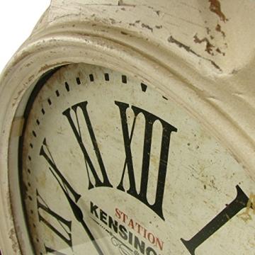 Riesen Wanduhr antik aus Holz und Metall 48x57cm weiß Küchenuhr Bahnhofsuhr - 3