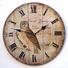 Uhr Wanduhr Küchenuhr braun Eule Foto Vogel Tiere antik Nostalgie nostalgisch Deko - 1