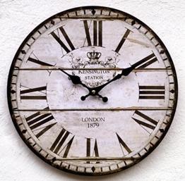 Uhr Wanduhr weiß schwarz antik Nostalgie Shabby Landhausstil XL Vintage groß Küchenuhr Küche wand Kensignton - 1