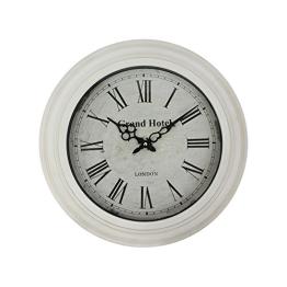 Wanduhr GRAND HOTEL antik weiß im Landhausstil Uhr mit romischen Zahlen - 1