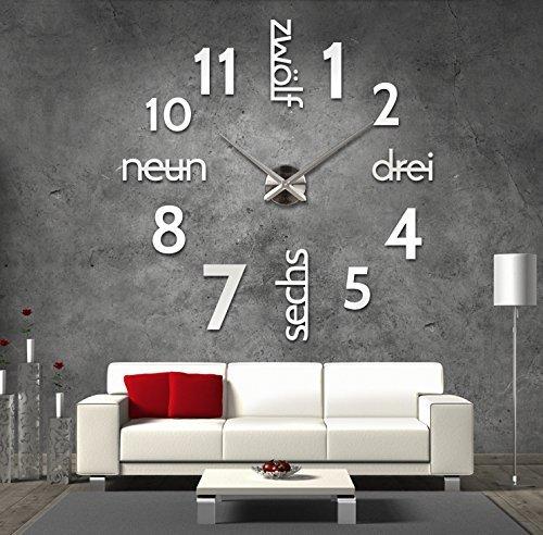 XXL 3D Designer Wanduhr 70 – 130cm Silber mit deutschem Ziffernblatt aus  Acryl
