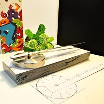 XXL 3D Silberne Riesen Designer Wanduhr Wohnzimmer Dekoration Wandtatoo mit deutschem Ziffernblatt aus Acryl - 2