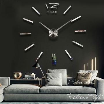 Silberne Designer Wanduhr 80-130cm Wohnzimmer Dekoration Wandtatoo XXL 3D  aus Acryl