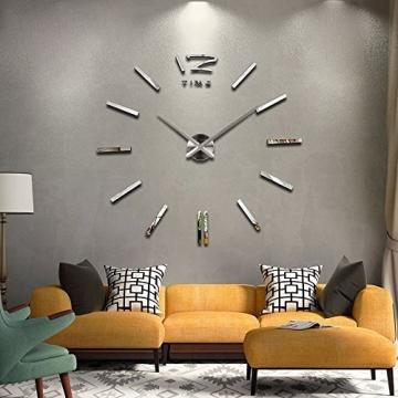 Silberne Riesen Designer Wanduhr Wohnzimmer Dekoration Wandtatoo XXL 3D aus Acryl - 2